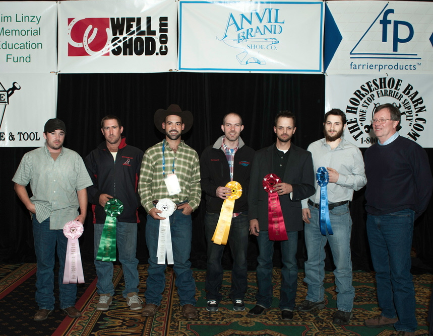 Intermediate Journeyman Shoe class ribbons. In order of finish from right to left - Victor Frisco, CJF, Jason Critton, CJF, TE, Ryan Stoops, CJF, Juan Marcos Escabi, CF, Charles Johnson and Adam Tighe, CJF