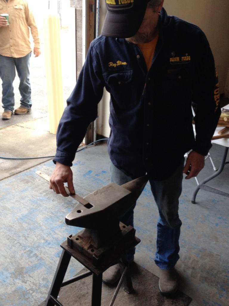 Roy Bloom measuring anvil