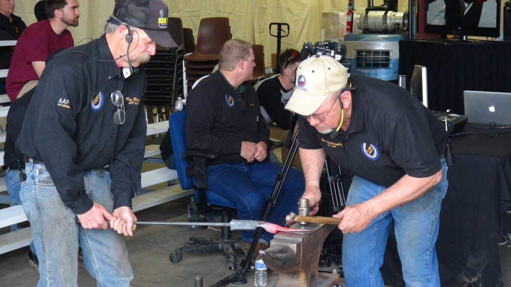 Roy Bloom and Tom Willoughby working on anvil vulture