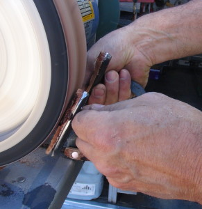 Grinding leather pad to correct degree