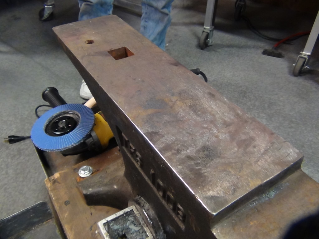 This anvil has not been modified and all edges are relatively sharp.