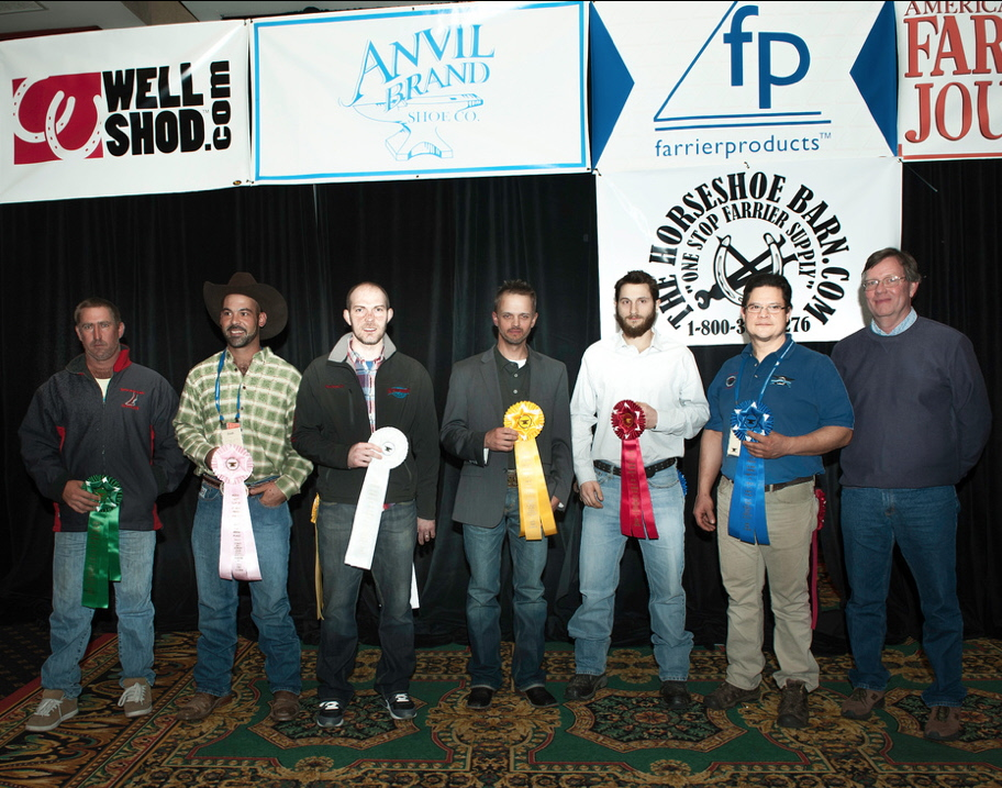 Intermediate Specialty Forging ribbon presentation. From right to left: Alan Dryg, CJF, Victor Frisco, CJF, Jason Critton, CJF, TE, Ryan Stoops, CJF, Juan Marcos Escabi, CF, Adam Tighe, CJF
